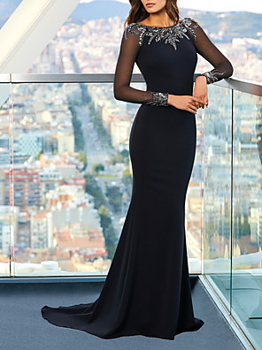 cheap Prom Dresses-Mermaid / Trumpet Beautiful Back Sexy Engagement Formal Evening Dress Jewel Neck Long Sleeve Sweep / Brush Train Spandex with Sleek Appliques 2020 / Illusion Sleeve