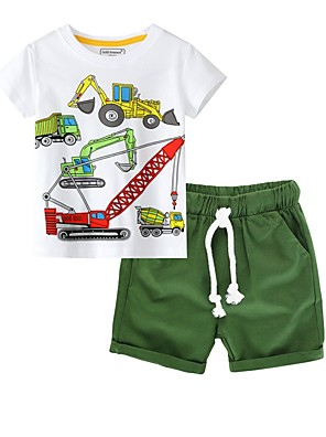 cheap Boys' Clothing Sets-Kids Boys' Basic Print Short Sleeve Clothing Set Green