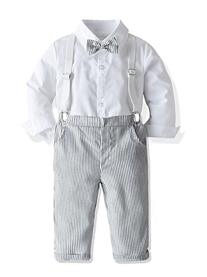 cheap Boys' Clothing Sets-Kids Toddler Boys' Basic Street chic Birthday Party Party & Evening Solid Colored Long Sleeve Regular Regular Clothing Set White