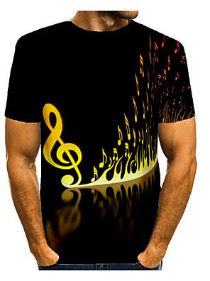 cheap Men's Tees & Tank Tops-Men's Daily T-shirt Graphic Print Short Sleeve Tops Basic Round Neck Black