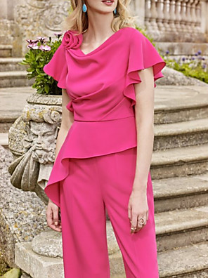 cheap Evening Dresses-Jumpsuits Mother of the Bride Dress Elegant Jewel Neck Floor Length Chiffon Short Sleeve with Flower 2020