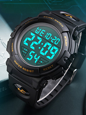 cheap Smart Watches-SKMEI Men's Sport Watch Military Watch Wrist Watch Fashion Water Resistant / Waterproof Silicone Black / Blue / Silver Digital - Black Yellow Red Two Years Battery Life / Japanese / Alarm / Stopwatch
