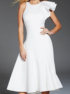 cheap Cocktail Dresses-A-Line Elegant Minimalist Homecoming Cocktail Party Dress Jewel Neck Sleeveless Tea Length Stretch Satin with Sleek 2020