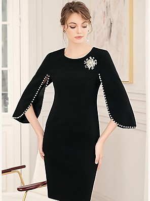 cheap Cocktail Dresses-Sheath / Column Elegant Minimalist Wedding Guest Cocktail Party Dress Jewel Neck 3/4 Length Sleeve Short / Mini Spandex with Pearls 2020