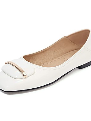 cheap Plus Size Dresses-Women's Flats Spring / Fall Flat Heel Square Toe Business British Daily Outdoor PU Almond / White / Black