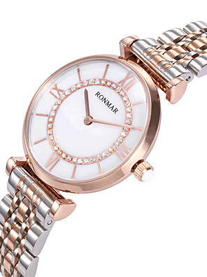cheap Quartz Watches-RONMAR Women's Sport Watch Quartz Formal Style Stylish Classic Water Resistant / Waterproof Stainless Steel White / Rose Gold Analog - Rose Gold White Silver / Japanese