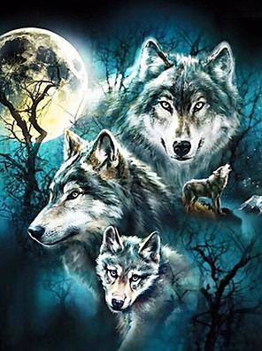 cheap Smart Watches-5D Diamond Painting Full Square Animal Diamond Embroidery Rhinestones Pictures Diamond Mosaic Moon Wolf