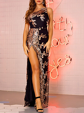 cheap Party Dresses-Women's Maxi long Dress - Sleeveless Backless Sequins Split Summer One Shoulder Elegant Sexy Cocktail Party 2020 Black Blushing Pink Gold Green S M L XL