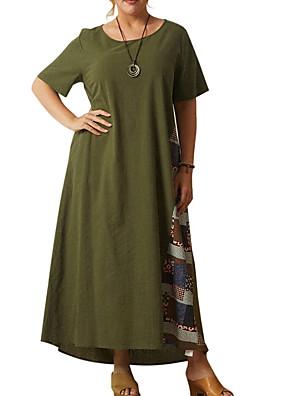 cheap Plus Size Dresses-Women's Shift Dress Maxi long Dress - Short Sleeve Color Block Summer Casual 2020 Army Green Dusty Blue M L XL XXL XXXL XXXXL XXXXXL
