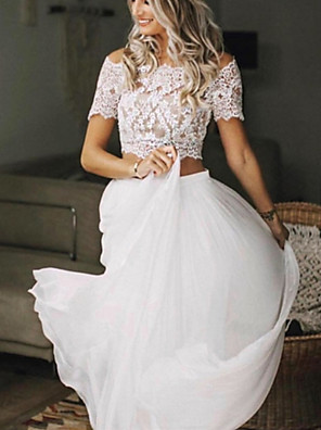 cheap Cocktail Dresses-Two Piece Wedding Dresses Jewel Neck Sweep / Brush Train Chiffon Lace Short Sleeve Beach Boho Sexy See-Through with Pleats 2020