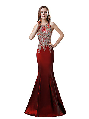 cheap Evening Dresses-Mermaid / Trumpet Elegant Glittering Engagement Formal Evening Dress Jewel Neck Sleeveless Floor Length Taffeta with Crystals Appliques 2020