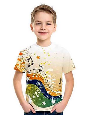 cheap Boys' Tops-Kids Boys' Basic Holiday Geometric Print Short Sleeve Tee Green