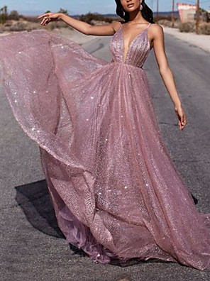 cheap Evening Dresses-A-Line Glittering Sexy Engagement Formal Evening Dress V Neck Sleeveless Court Train Tulle with Pleats Sequin 2020