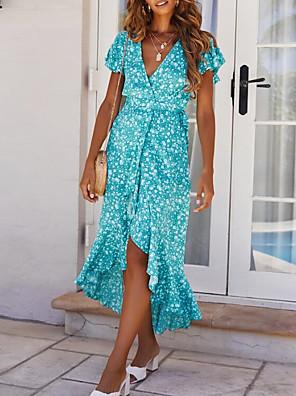 Χαμηλού Κόστους Για νεαρές γυναίκες-Γυναικεία Φόρεμα για τον ήλιο Μακρύ φόρεμα - Κοντομάνικο Φλοράλ Στάμπα Καλοκαίρι mumu Καθημερινά 2020 Θαλασσί Τ M L XL