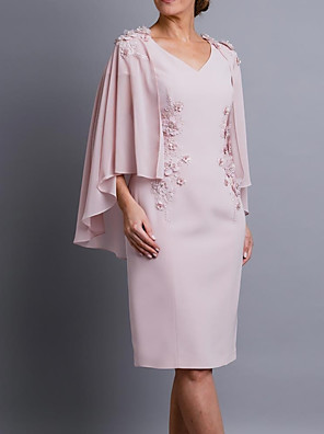 cheap Evening Dresses-Sheath / Column Mother of the Bride Dress Elegant V Neck Knee Length Chiffon 3/4 Length Sleeve with Appliques 2020