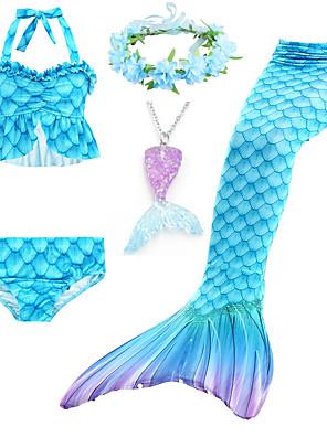 cheap Girls' Swimwear-Kids Girls' Active Cute Mermaid Tail Color Block Drawstring Sleeveless Swimwear Blue