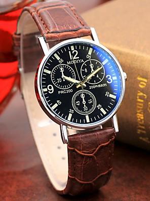 Недорогие Кварцевые часы-Муж. Нарядные часы Кварцевый Стильные На каждый день Альтиметр Кожа Коричневый Аналоговый - Красный + коричневый Белый Черный Один год Срок службы батареи