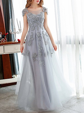 cheap Prom Dresses-A-Line Elegant Floral Engagement Formal Evening Dress Illusion Neck Short Sleeve Floor Length Tulle with Crystals Appliques 2020