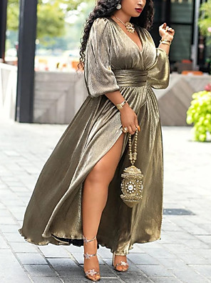 cheap Plus Size Dresses-Women's Sheath Dress Maxi long Dress - Long Sleeve Solid Color Split Spring Fall Vintage Daily Weekend 2020 Gold S M L XL XXL