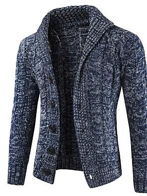 hesapli Erkek Kazakları ve Hırkaları-Erkek Zıt Renkli Solid Hırka Uzun Kollu Kazak Hırka Gömlek Yaka Koyu Gri Koyu Mavi Bej