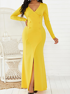 cheap Print Dresses-Women's Sheath Dress Maxi long Dress - Long Sleeve Solid Color Split Fall Winter Sexy Vacation Going out 2020 Black Yellow Green S M L XL
