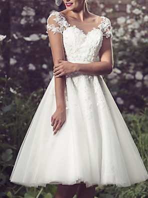 cheap Wedding Dresses-A-Line Wedding Dresses Jewel Neck Knee Length Lace Tulle Short Sleeve Vintage 1950s with Appliques 2020