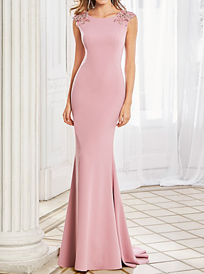 cheap Evening Dresses-Mermaid / Trumpet Elegant Beautiful Back Engagement Formal Evening Dress Boat Neck Sleeveless Sweep / Brush Train Stretch Satin with Beading 2020