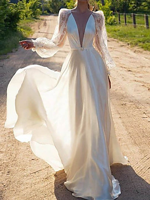 cheap Wedding Dresses-A-Line Wedding Dresses Jewel Neck Sweep / Brush Train Lace Stretch Satin Long Sleeve Country with Lace Insert 2020