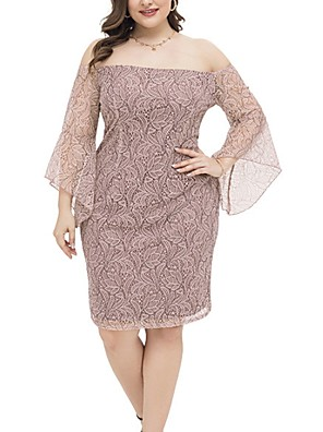 cheap Plus Size Dresses-Women's Shift Dress Knee Length Dress - Long Sleeve Solid Color Summer Casual 2020 Blushing Pink XL XXL XXXL XXXXL