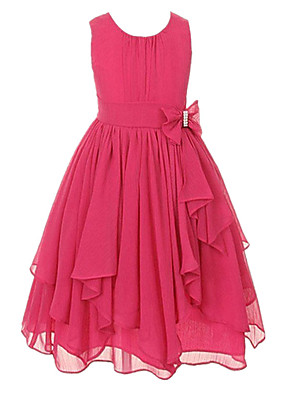 cheap Quartz Watches-Ball Gown Ankle Length Wedding / Party Flower Girl Dresses - Tulle Sleeveless Jewel Neck with Bow(s) / Tier / Solid