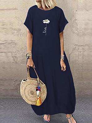 cheap Women's Blouses & Shirts-Women's Shift Dress Maxi long Dress - Short Sleeves Floral Print Summer Casual Lantern Sleeve 2020 Black Navy Blue Light Blue L XL XXL XXXL XXXXL XXXXXL