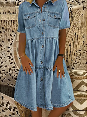 cheap Maxi Dresses-Women's Denim Shirt Dress Knee Length Dress - Short Sleeve Square Pocket Summer Shirt Collar Casual 100% Cotton 2020 Blue S M L XL XXL XXXL