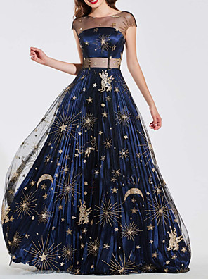 cheap Evening Dresses-A-Line Luxurious Vintage Wedding Guest Prom Dress Illusion Neck Short Sleeve Sweep / Brush Train Tulle with Appliques 2020