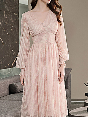 cheap Cocktail Dresses-A-Line Elegant Minimalist Wedding Guest Cocktail Party Dress V Neck Long Sleeve Knee Length Lace with Buttons 2020