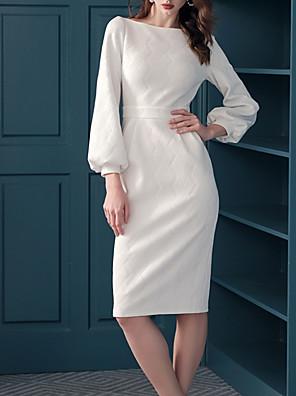 cheap Cocktail Dresses-Sheath / Column Elegant Minimalist Homecoming Cocktail Party Dress Jewel Neck Long Sleeve Knee Length Cotton with Sleek 2020