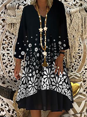 cheap Plus Size Dresses-Women's Shift Dress Knee Length Dress - Long Sleeve Print Plaid / Check Solid Color Print Summer V Neck Casual Daily Loose 2020 Black M L XL XXL XXXL