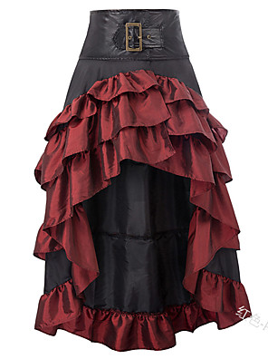 cheap Women's Dresses-Women's Basic Asymmetrical Skirts Color Block Layered Pleated Patchwork