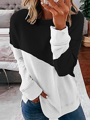 cheap Women's Blouses & Shirts-Women's Daily Pullover Sweatshirt Color Block Casual Basic Hoodies Sweatshirts  Loose Black Blue Blushing Pink