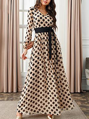cheap Down to $2.99-Women's A-Line Dress Maxi long Dress - Long Sleeve Polka Dot Patchwork Fall V Neck Sexy Daily Slim 2020 Khaki Brown S M L XL XXL