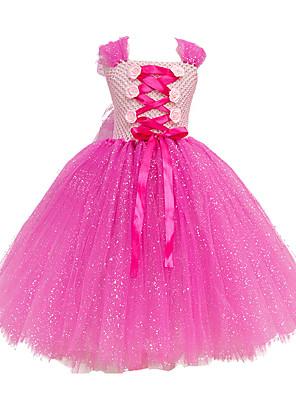 cheap Girls' Dresses-Kids Girls' Flower Cute Rose Patchwork Jacquard Christmas Layered Mesh Patchwork Sleeveless Maxi Dress Blushing Pink