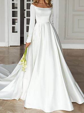cheap Wedding Dresses-A-Line Wedding Dresses Off Shoulder Court Train Satin Long Sleeve Simple with Pleats 2020