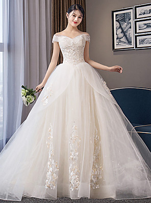 cheap Prom Dresses-Ball Gown Wedding Dresses Off Shoulder Chapel Train Organza Cap Sleeve Formal Elegant with Crystals Appliques 2020