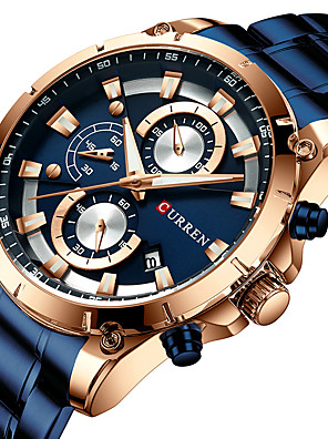 cheap Steel Band Watches-CURREN Men's Military Watch Quartz Modern Style Stylish Outdoor Water Resistant / Waterproof Stainless Steel Black / Blue / Silver Analog - Black Blue Gold One Year Battery Life / Japanese / Japanese