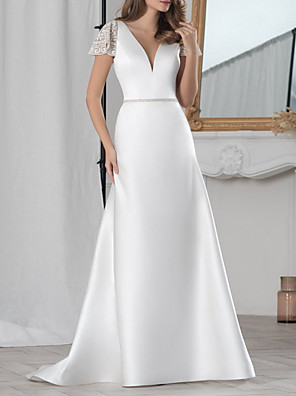 cheap Evening Dresses-A-Line Wedding Dresses V Neck Floor Length Lace Satin Short Sleeve Simple with Sashes / Ribbons 2020