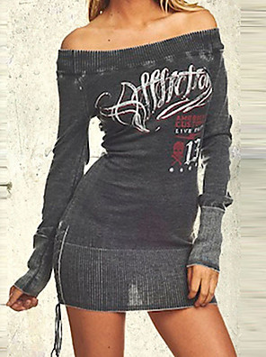 cheap Socks & Hosiery-Women's Sheath Dress Short Mini Dress - Long Sleeve Letter Print Spring Off Shoulder Sexy Party Club Slim 2020 Black M L XL XXL XXXL XXXXL XXXXXL