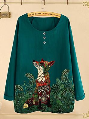 cheap Women's Blouses & Shirts-Women's Blouse Animal Fox Long Sleeve Round Neck Tops Loose Basic Top Blue Blushing Pink Green