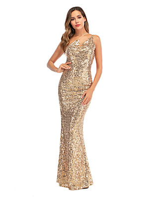 cheap Maxi Dresses-Women's A-Line Dress Maxi long Dress - Sleeveless Solid Color Sequins Embroidered Tassel Fringe Summer Sexy Party Club 2020 Gold S M L XL
