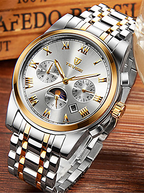 cheap Steel Band Watches-Tevise Men's Mechanical Watch Automatic self-winding Modern Style Stylish Casual Water Resistant / Waterproof Analog Black / Silver Black+Gloden Golden+Silver / Stainless Steel / Moon Phase