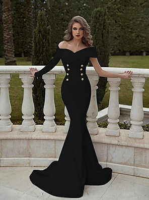 cheap Cocktail Dresses-Mermaid / Trumpet Elegant Minimalist Engagement Formal Evening Dress Off Shoulder Long Sleeve Sweep / Brush Train Cotton with Buttons 2020