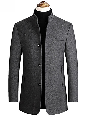 cheap Men's Sweaters & Cardigans-Men's Overcoat Long Solid Colored Daily Basic Black Wine Navy Blue M L XL